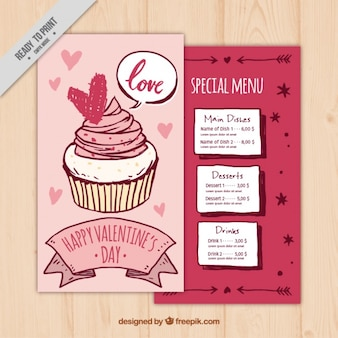 Special valentine's menu with hand-drawn cupcake