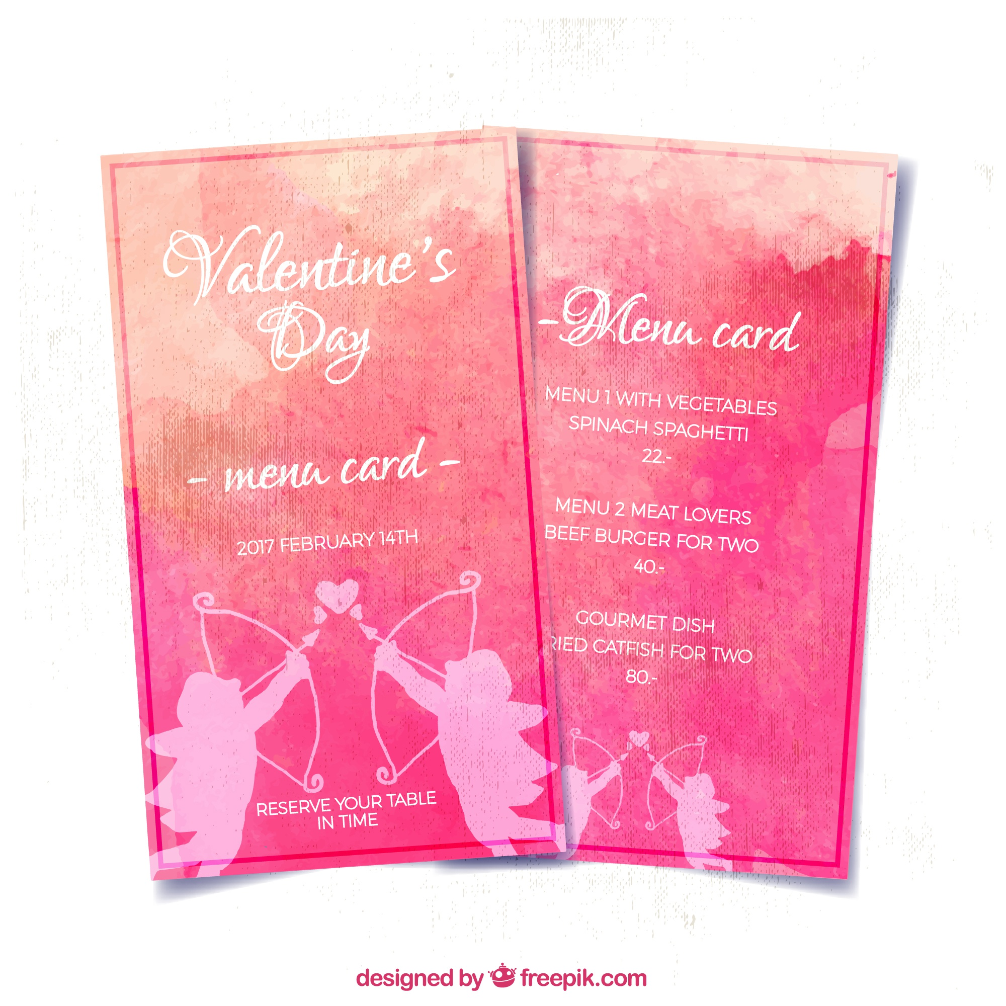 Special valentine watercolor menu with cupid silhouettes