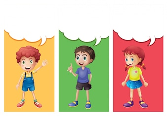 Speech bubble template with kids illustration