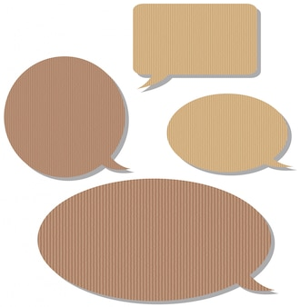 Speech bubble templates with cardboard texture