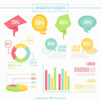 Speech bubbles and infographic elements