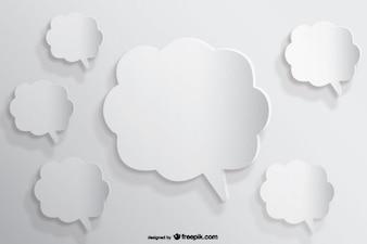 Speech Bubbles Background Paper Cutout Effect
