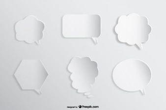 Speech Comic Bubbles Background Paper Cutout Effect