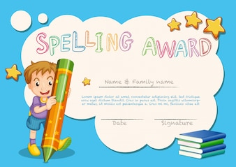 Spelling award template with kid and book in background