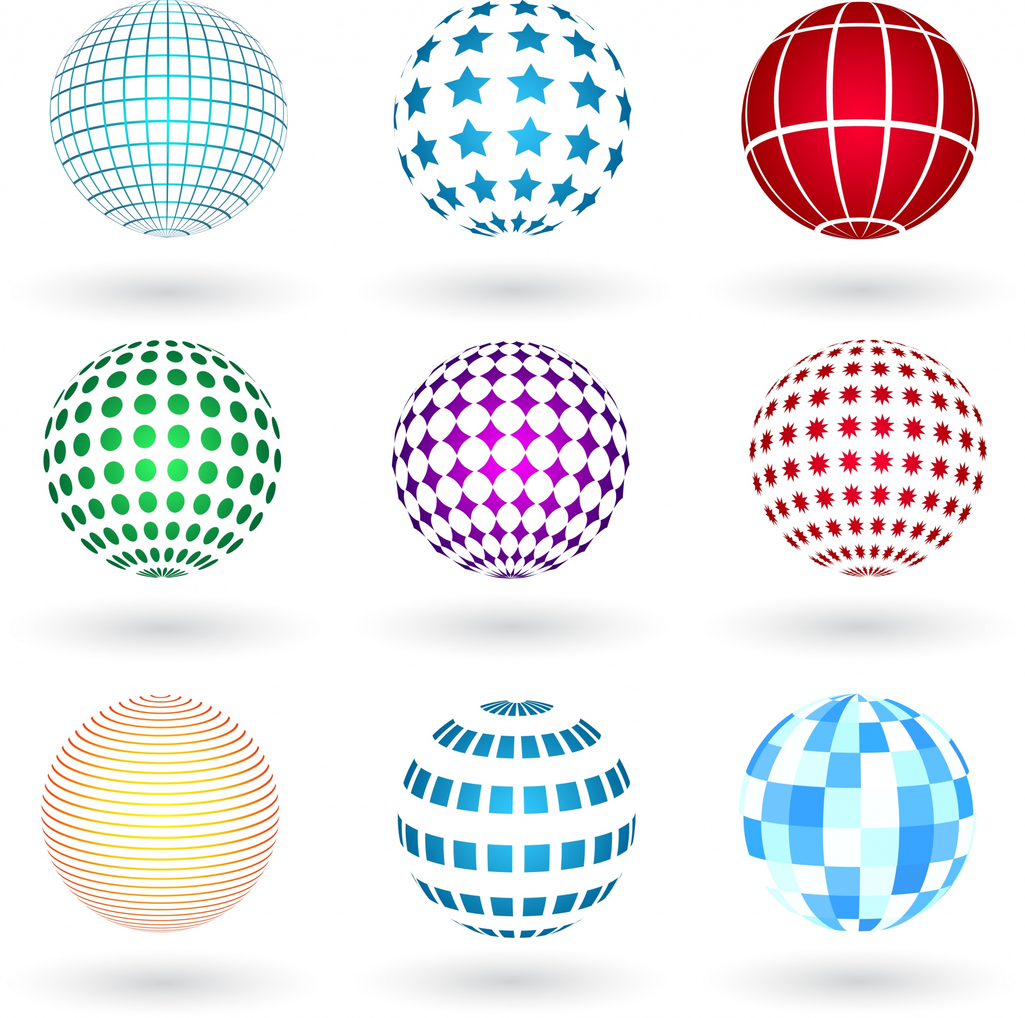 Spheres with various designs