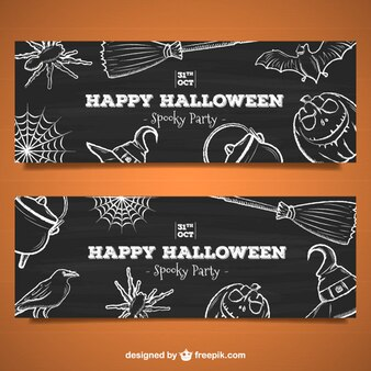 Spooky halloween party banners