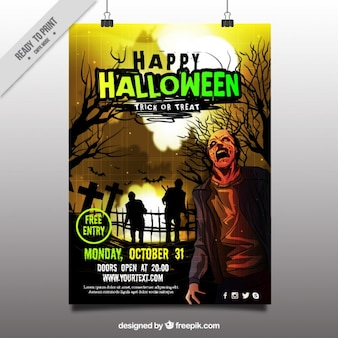 Spooky halloween party poster