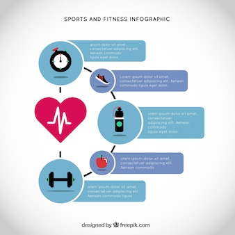 Sport and fitness infography with a main heart