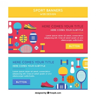 Sport banners with flat elements