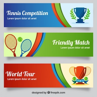 Sport banners with rackets and trophies