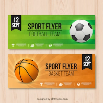 Sport banners with realistic balls