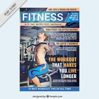 Sport magazine template of fitness