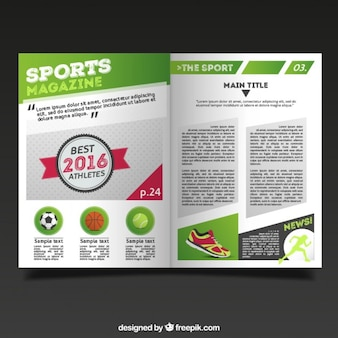 Sport magazine template with report