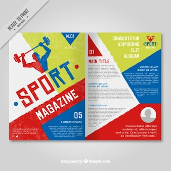Sport magazine with geometric shapes
