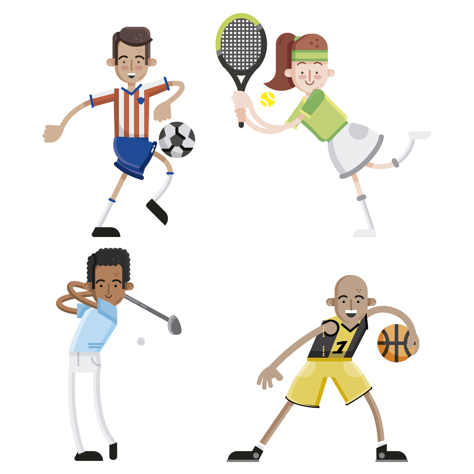 Sport players characters collection