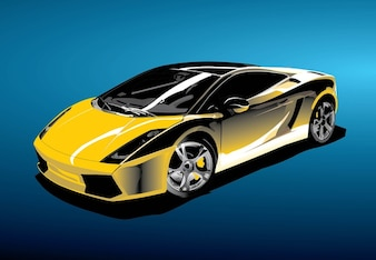 Sports yellow car vector