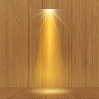 Spotlight on wooden wall
