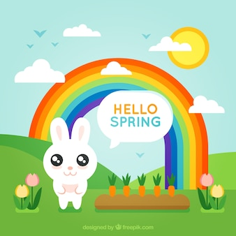 Spring background with bunny and rainbow in flat design
