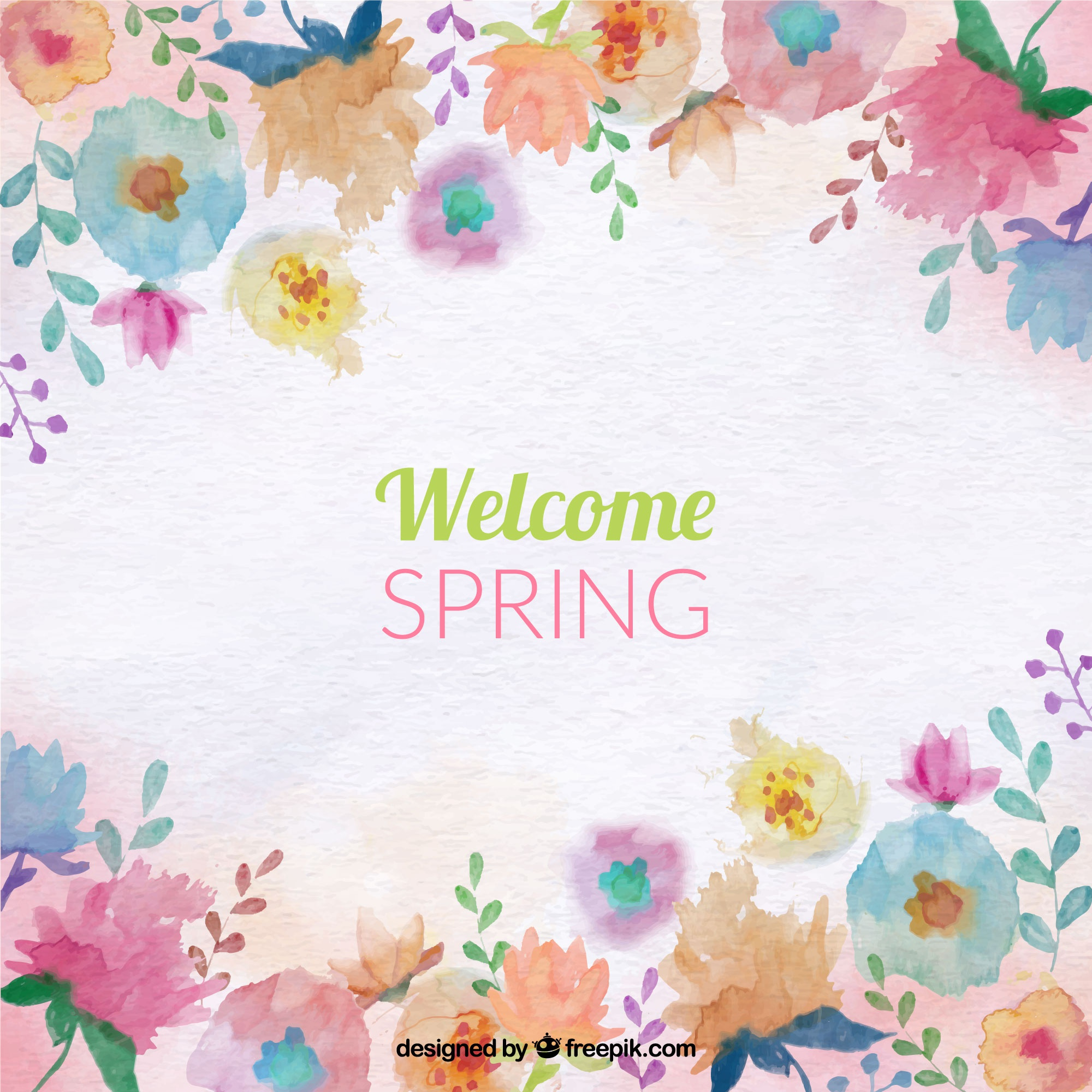 Spring background with colored watercolor flowers