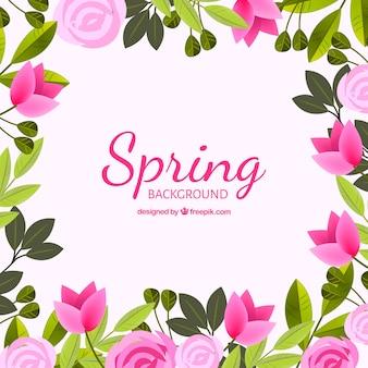 現実的なスタイルで装飾的な花で春の背景