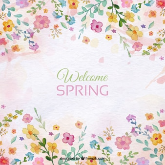 Spring background with floral watercolor details