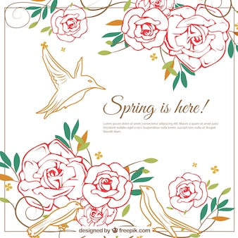 Spring background with flowers and birds