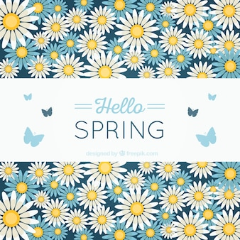Spring background with flowers and butterflies
