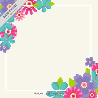 Spring background with white frame and flat flowers