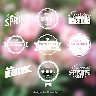Spring badges in retro style
