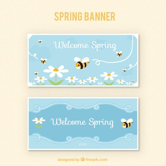 Spring banner with bees