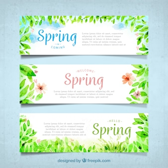 Spring banners watercolor leaves