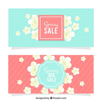 Spring banners with cherry blossoms
