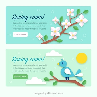 Spring banners with natural elements