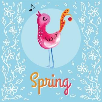Spring bird singing background