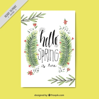Spring card with watercolor leaves