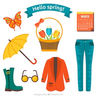 Spring clothes and things set