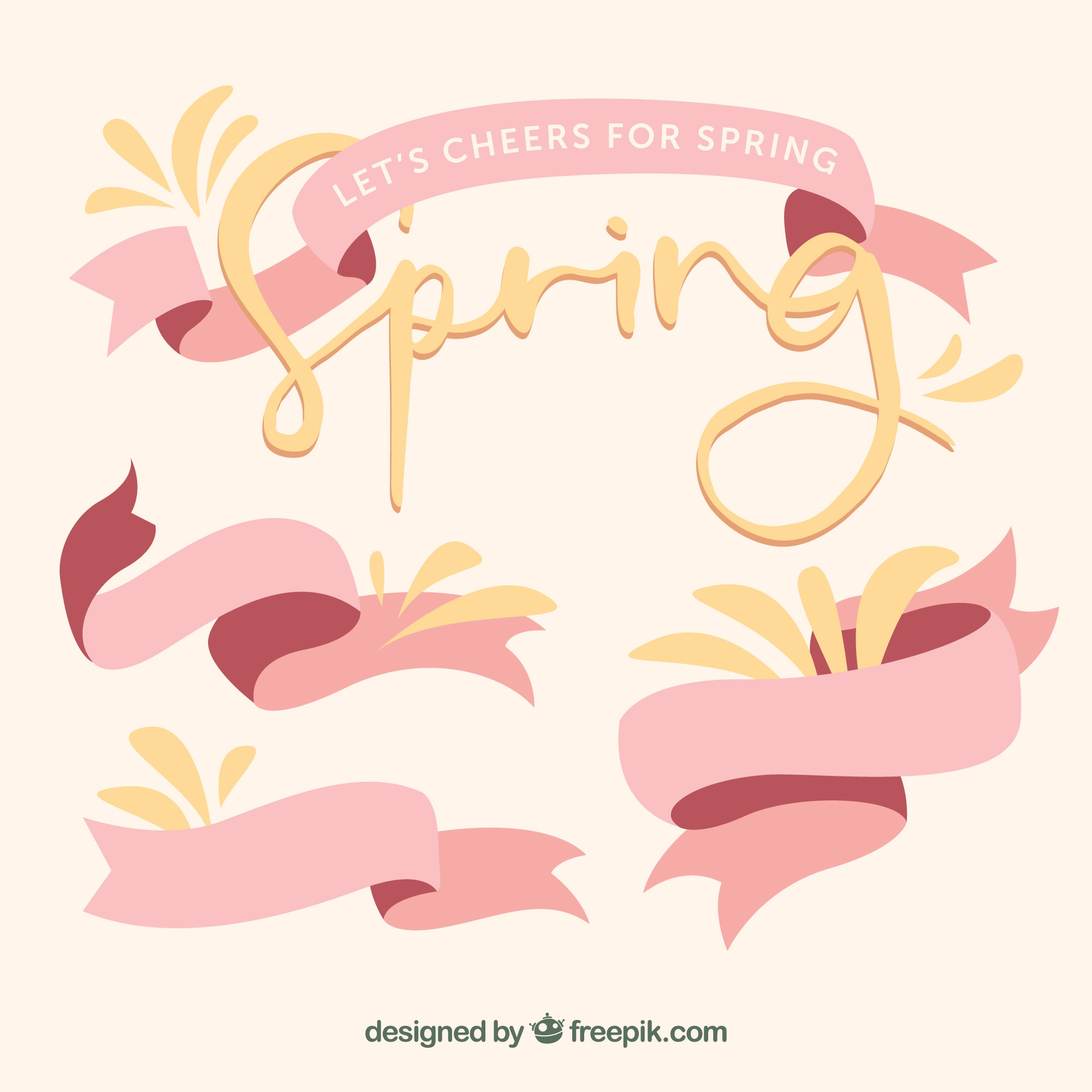 Spring collection of pink ribbons with yellow details