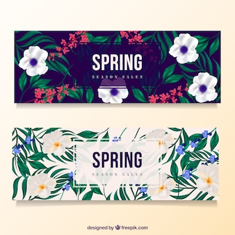 Spring discount banners with flowers and leaves