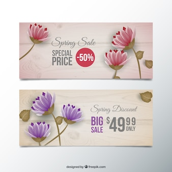 Spring discount floral banners