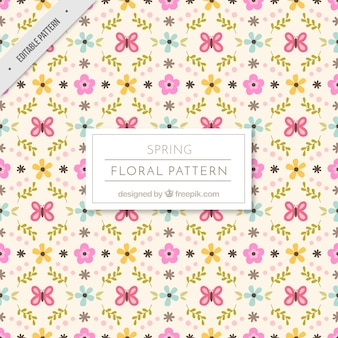 Spring floral pattern with decorative butterflies