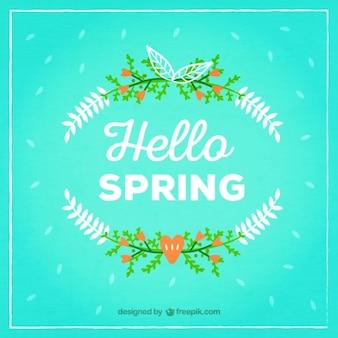 Spring floral wreath background