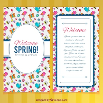Spring greeting card with hand-drawn birds and insects