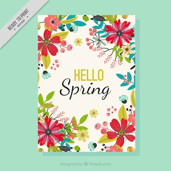 Spring greeting card with hand drawn flowers