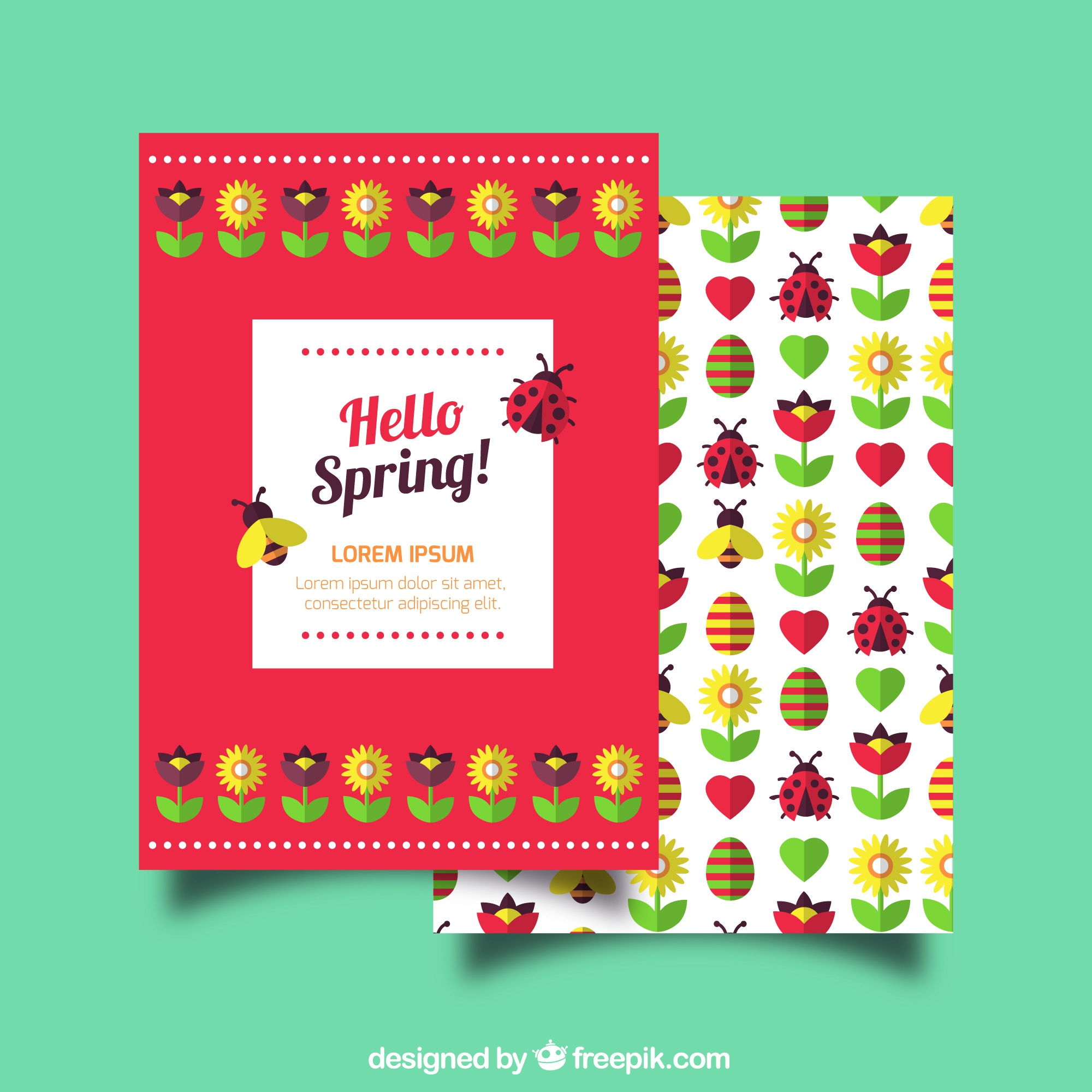 Spring greeting card with insects and flowers