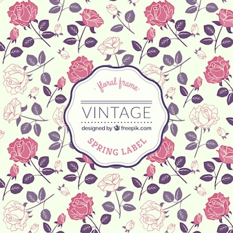 Spring label in retro style