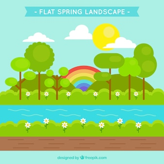 Spring landscape background with rainbow in flat design