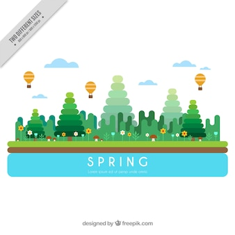 Spring landscape with geometric trees