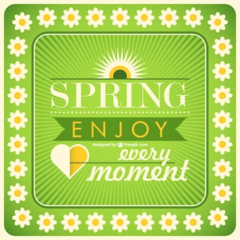 Spring motivational card with daisies
