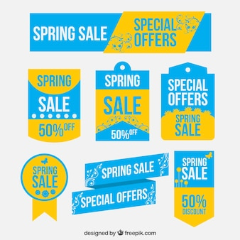 Spring offers labels in blue and yellow colors