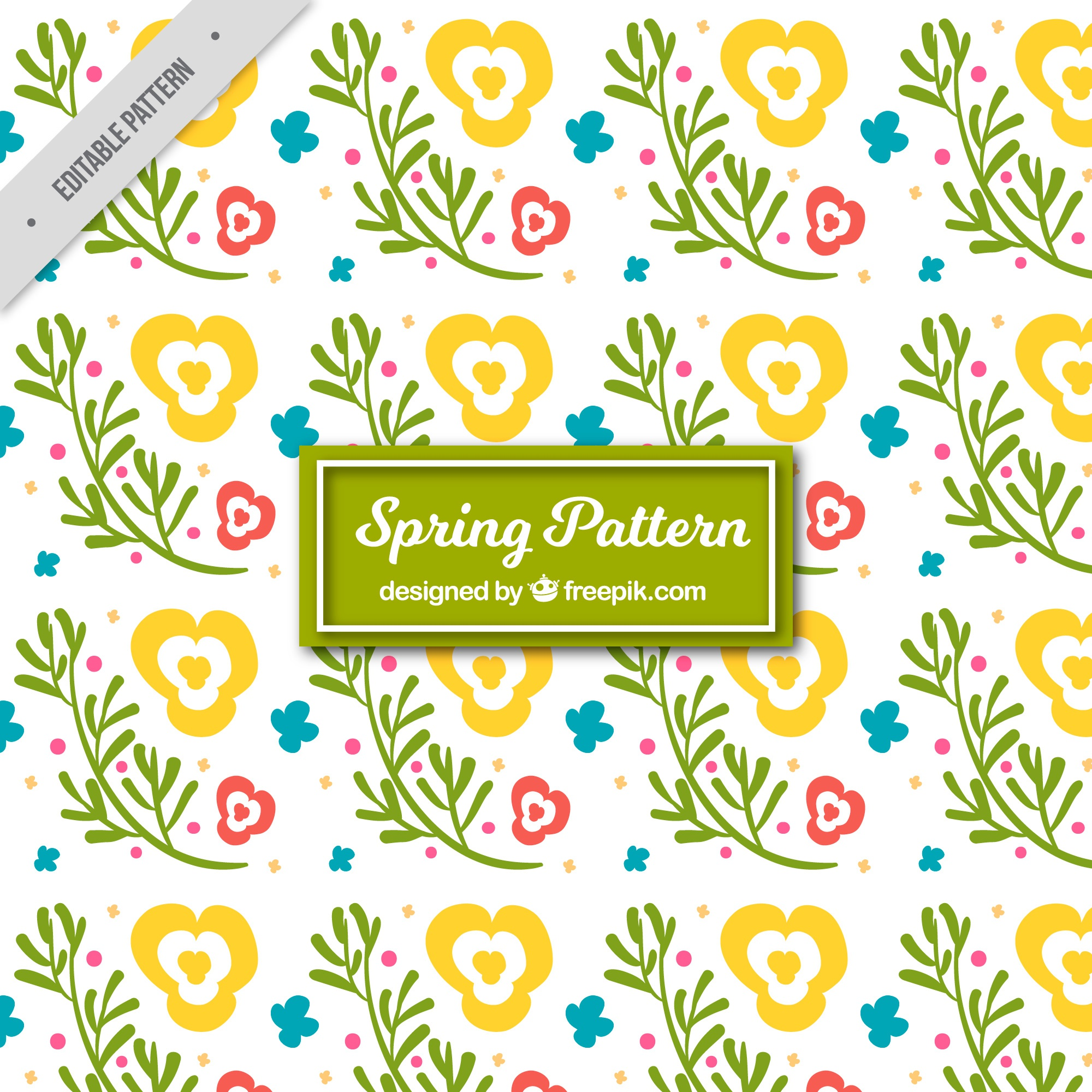 Spring pattern with abstract flowers